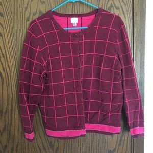 Pink and maroon windowpane cardigan